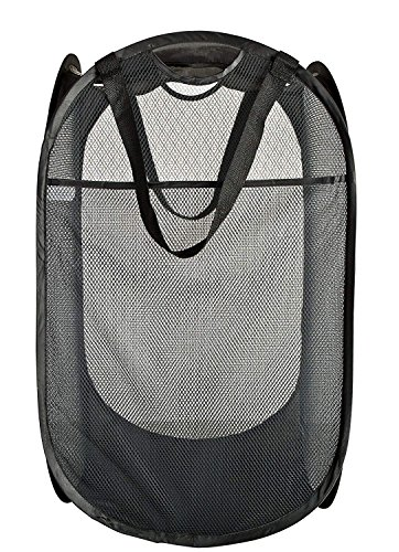 PRO-MART DAZZ Deluxe Mesh Pop-Up Laundry Hamper with Side Pocket and Handles, Black