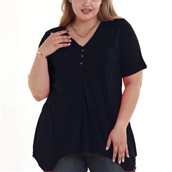 8cb4ba237c56 👚Women Summer Plus Size Irregular V-Neck Short Sleeve Button Top T Shirt  Ladies