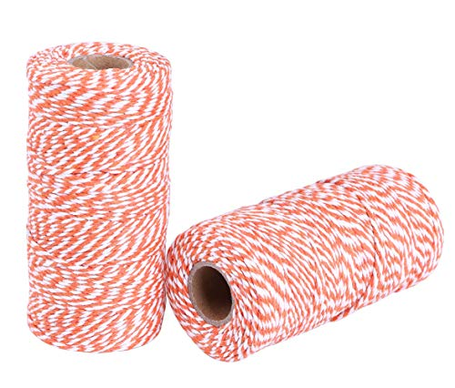 Penta Angel 2mm Diameter 100M /109 Yards Natural Cotton Baker Twine Cording DIY Craft Twist String Spool Gift Wrapping Packing Rope for Garden Festival Decoration, 2 PCS (Orange & White) ()