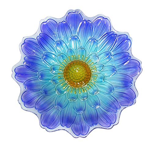- Alpine Blue Flower Birdbath, 18 Inches
