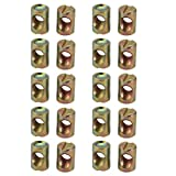 uxcell 20pcs M8 Thread 18mm Length Iron Slotted Drive Cross Dowel Barrel Nut
