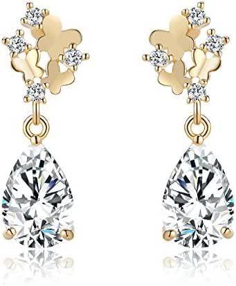 Zolure Flower Butterfly Earrings with Crystals, Women Fashion Jewelry