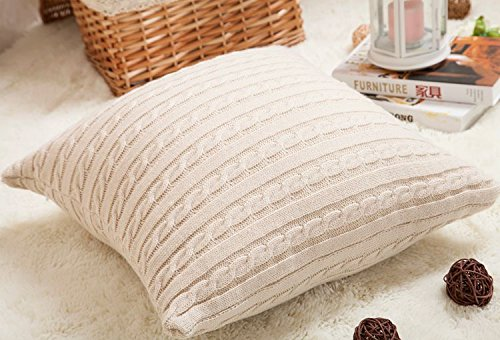 isunshine cotton knitted decorative cushion cover cable knitting patterns super soft square warm pillow covers 18 by 18 inch throw pillow cover beige