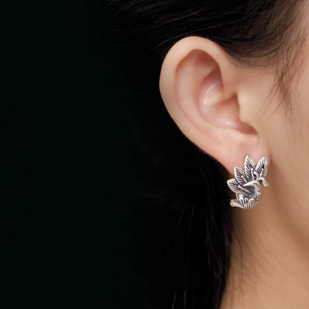 THTHT Vintage Earrings S925 Sterling Silver Women Phoenix Peony Flower Matte Simple Studs Elegant Temperament High-End Personality Gift All Silver Jewelry