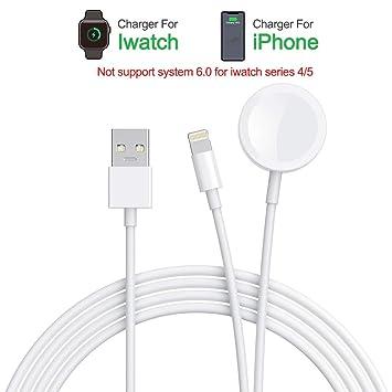 Amatage Cargador inalámbrico Watch, Cable de Carga portátil 2 en 1 Compatible con Watch Series 4 3 2 1 y teléfono XS/XR/X / 8/7/6/5 Series/Pad ...