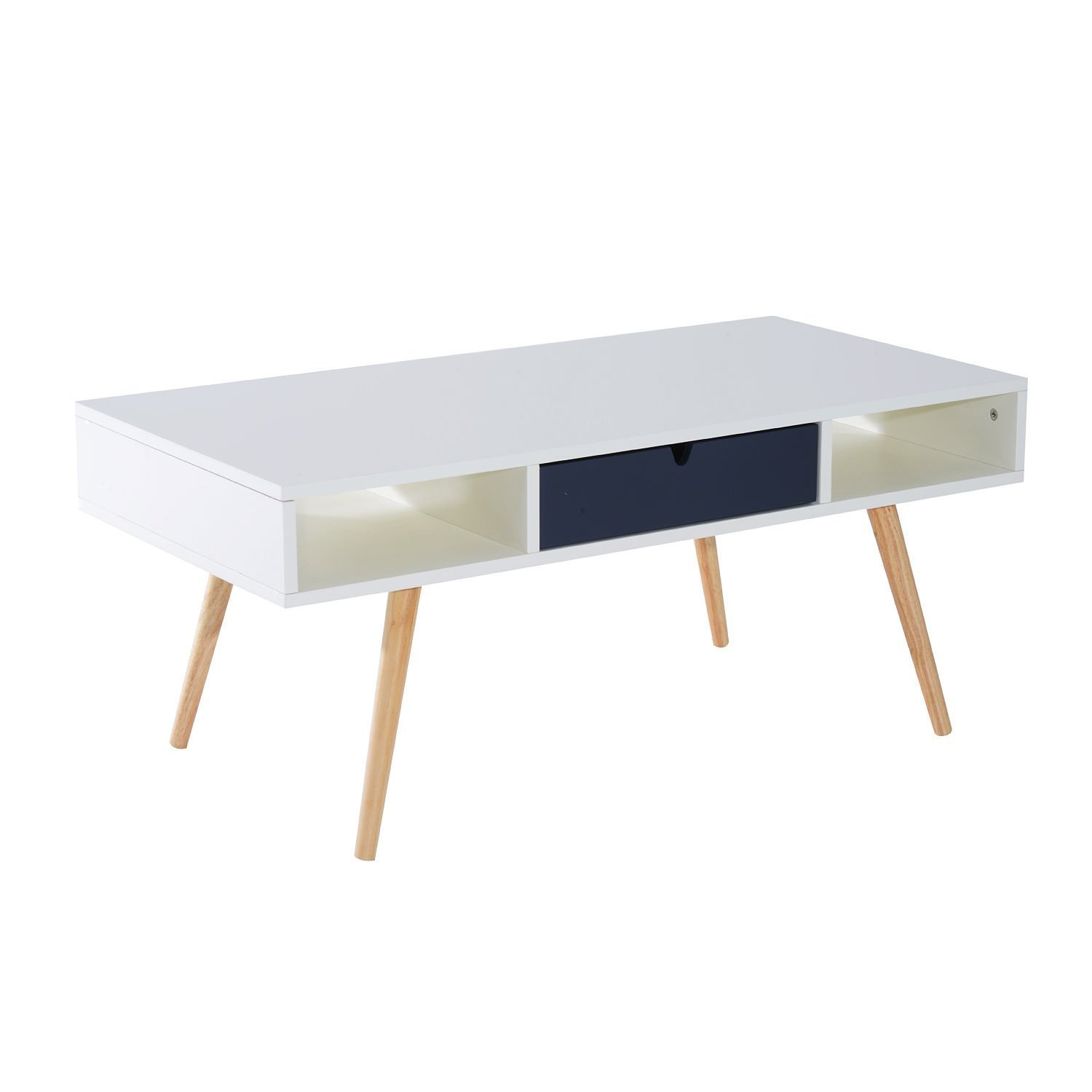 "HOMCOM 40"" Mid Century Modern Wooden Coffee Table with Drawer - White/Blue Grey/Woodgrain"