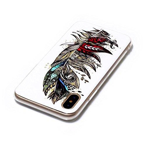 Coque pour Apple iPhone 8 ,ZXLZKQ Case Motif Mode Etui Bumper Soft TPU pour Apple iPhone 8 Mode Flexible Souple Noctilucent Housse Protection Mince Transparent Silicone Cover - Feather