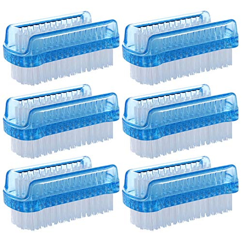 BTYMS 6 Pcs Dual Sided Nail Brush, Fingernail Scrub Cleaning Brushes for Toes and Nails Cleaner Hand Scrubbing Cleaning Brushes - Blue (Best Nail Scrub Brush)