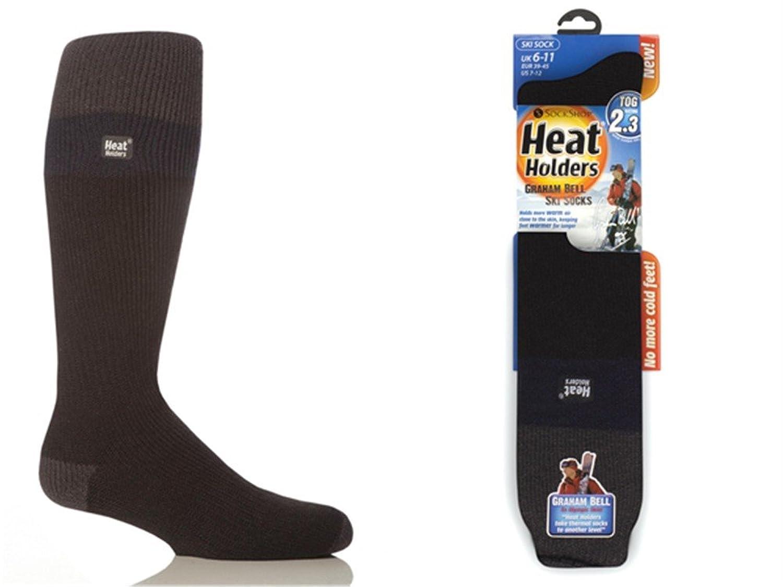 1 Paar Herren Original thermisch Winter Warm Wärme Inhaber Ski Socken 6-11 uk, 39-45 EUR, 7-12 usa Holzkohle / Marine / Schwarz