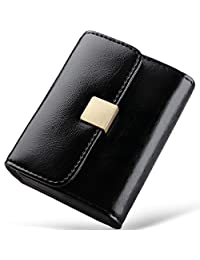 Huztencor Credit Card Holder RFID Blocking Small Wallet Leather Wallets for Women Ladies