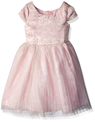 Nannette Girls' Toddler Brocade mesh Dress, Soft Pink, 3T - Pink Brocade Dress