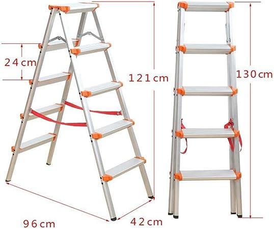 D Escaleras Extensibles Escalera De Cinco Escalones Escalera Plegable Aleación De Aluminio Una Escalera Pequeña Escalera Taburete De Caballo (Tamaño : 5): Amazon.es: Hogar