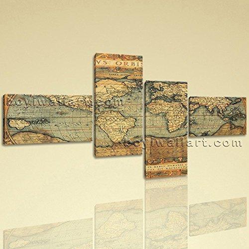 16th Century World Global Old Map Burned Ocean Retro Atlas