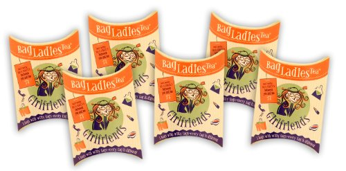Bag Ladies Tea Presents Girlfriends Tea Pouch - Each Pouch Contains 5 Teabags Individually Tagged with 5 Different Witty and Thoughtful Quotes, Made with Fine English Breakfast Tea. by Bag Ladies Tea
