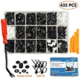 EZYKOO 435 Pcs Car Retainer Clips & Plastic Fasteners Kit - 19 Most Popular Sizes Auto Push Pin Rivets Set -Door Trim Panel Clips Compatible with GM Ford Toyota Honda Chrysler