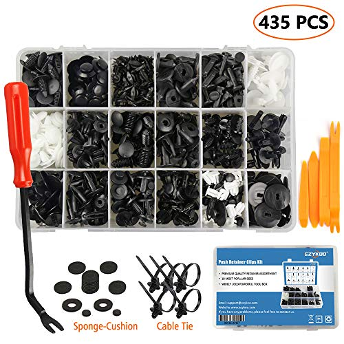 EZYKOO 435 Pcs Car Retainer Clips & Plastic Fasteners Kit - 19 Most Popular Sizes Auto Push Pin Rivets Set -Door Trim Panel Clips Compatible with GM Ford Toyota Honda Chrysler ()