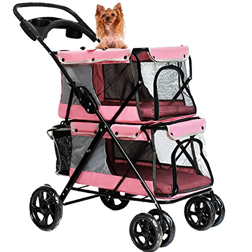 WINGOFFLY Double-deck 4 Wheels Pet Dogs Cats Stroller with Cup Holder(Pink)