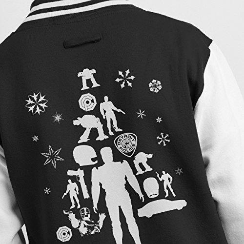 white Tree Men's Robocop Silhouette Varsity Jacket Christmas Black 0BBPx