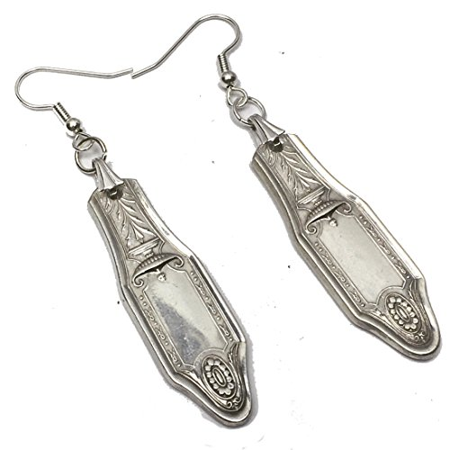 (Spoon Earrings 1920 Oneida Heirloom Adelphi Vintage Antique Silverplate Jewelry )