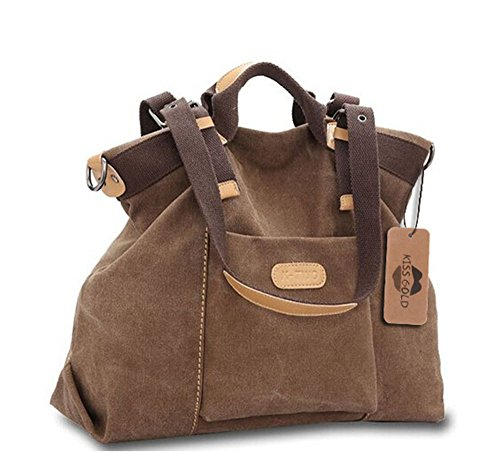 KISS GOLD(TM) Women's Casual Canvas Top-Handle Bag Shoulder Bag(Coffee) Duffle Purse Handbag