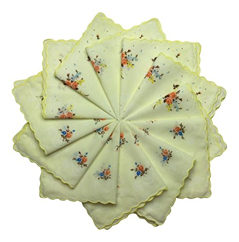 Women's Handkerchiefs 12 Pack Cotton Vintage Inspired Floral Designs (12 Pastel Yellow)