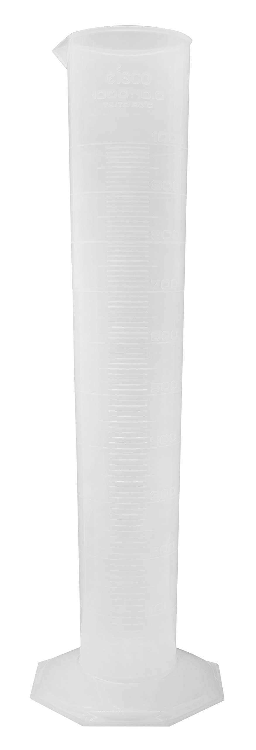 Measuring Cylinder, 1000ml - Class B - Polypropylene, Octagonal Base - US Sourced Plastic - Industrial Quality, Autoclavable - Eisco Labs by EISCO
