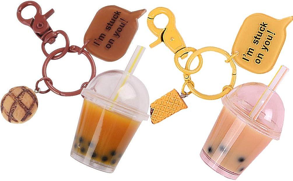 Miniature Bubble Tea Key Chain Coconut Pearl Milk Tea Beverage Resin Casting for Car Purse Bag Decor Jewelry Accessories