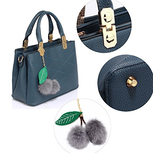 Navy Compatment Small Ladies 1 Bags 3 Womens Leather Charm Shoulder New With Handbags Design Designer Look gwZTZ1Aq