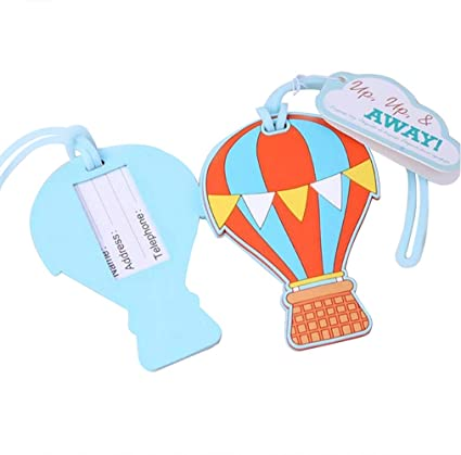892d3970e484 Amazon.com: 68pcs Hot Air Balloon Away Luggage Tag For Baby Shower ...