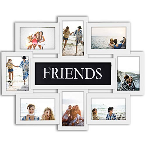 Jerry & Maggie - Photo Frame 22x17 White Friends Picture Frame Selfie Gallery Collage Wall Hanging for 6x4 Photo - 8 Photo Sockets - Wall Mounting Design (Two Best Friends Photos)
