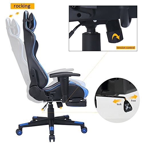 Zenith High Back Pu Leather Swivel Gaming Chair With