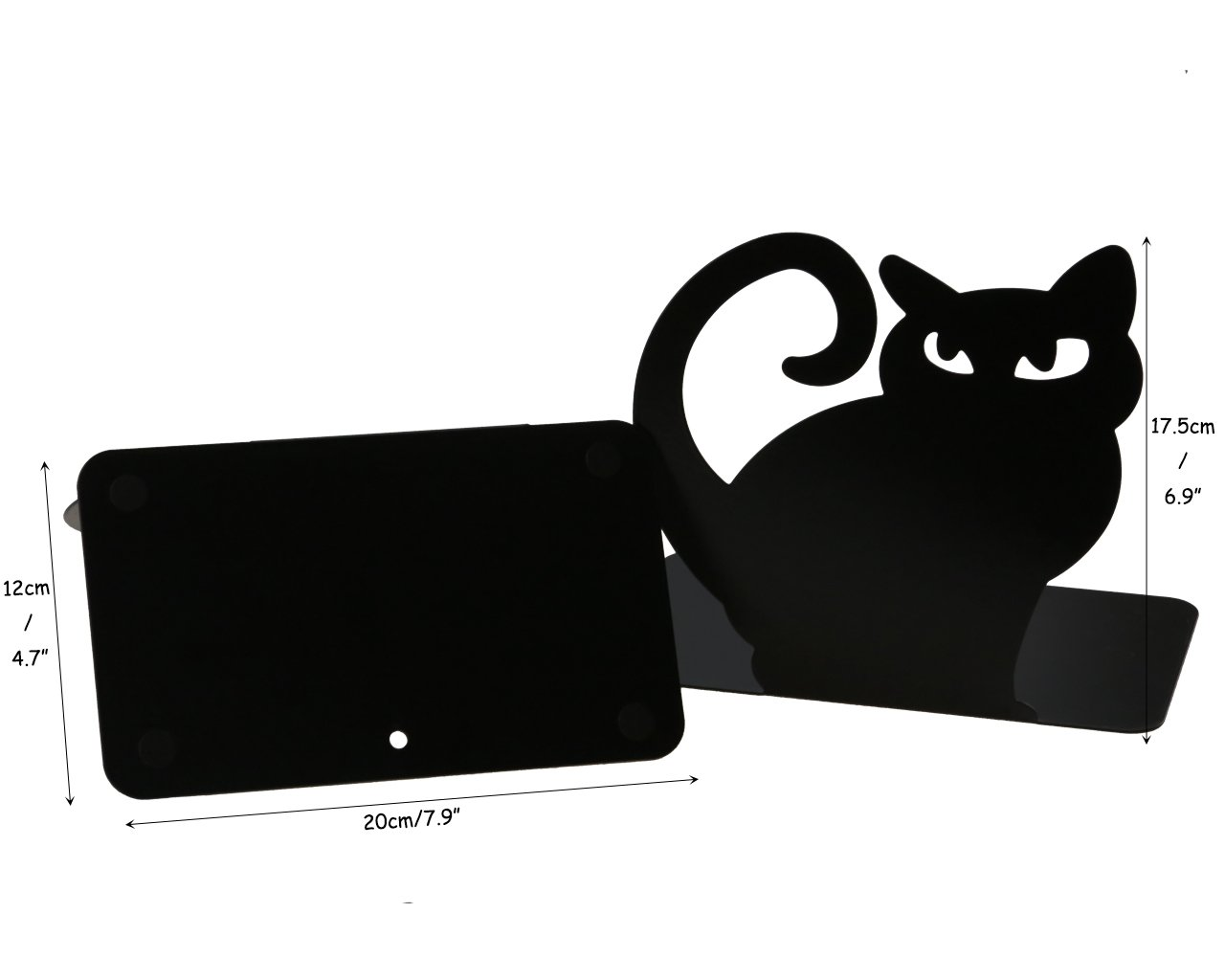 Cute Vivid Lovely Persian Cat Book Organizer Metal Bookends For Kids School Library Desk Study Home Office Decoration Gift (Black) by Apol (Image #3)