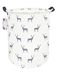 "TIBAOLOVER 19.7"" Large Sized Waterproof Foldable Laundry Hamper Bucket,Dirty Clothes Laundry Basket, Bin Storage Organizer for Toy Collection,Canvas Storage Basket (Gray Deer)"