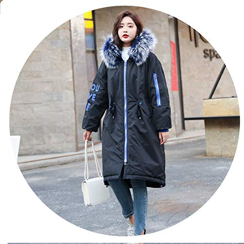 I'll NEVER BE HER 2018 New Oversized Coat Thick Winter Female Hooded Fur Cotton Long Coat et,03,XXL -