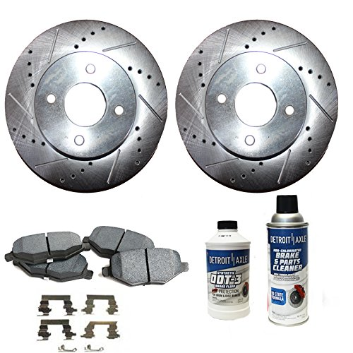 (Detroit Axle - 4-Lug Drilled & Slotted Front Brake Rotors & Ceramic Pads w/Clips w/BRAKE CLEANER & FLUID for 2005 2006-10 Chevy Cobalt - [07-08 Pontiac G5] - 03-07 Saturn Ion - Rear Drum Models Only )