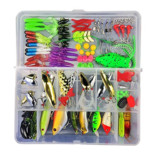 TT-OUTDO 141Pcs/ Box Artificial Fishing Lures Crank baits Hooks Minnow Baits Tackle Minnow Spinner Spoon Metal Fishing Lure Kit