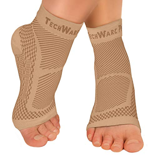 TechWare Pro Ankle Brace Compression Sleeve – Relieves Achilles Tendonitis, Joint Pain. Plantar Fasciitis Sock with Foot…