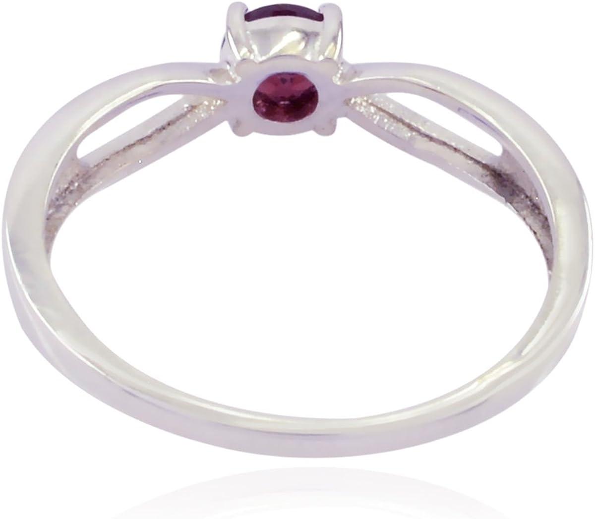 Good Gemstones Round Faceted Garnet Rings 925 Silver Red Garnet Good Gemstones Ring Faishon Jewelry Great Seller Gift for Valentines Day Handmade Rings
