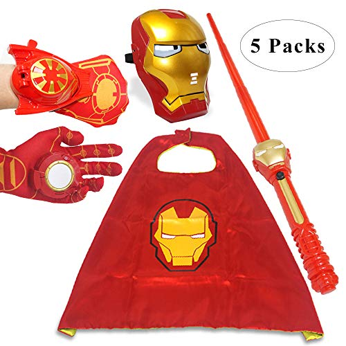 Fundisinn Iron Man 5 Packs Cartoon Superhero Costume Light Mask & Satin Cape & Light Gloves & Adjustable Sword & Fire Gloves Dress Up Costumes for Kids (Iron Man)]()