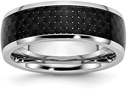 Cobalt Black Carbon Fiber Inlay 8mm Polished Band Ring - Ring Size Options: 10 10.5 11 11.5 12 12.5 13 7 7.5 8 8.5 9 9.5