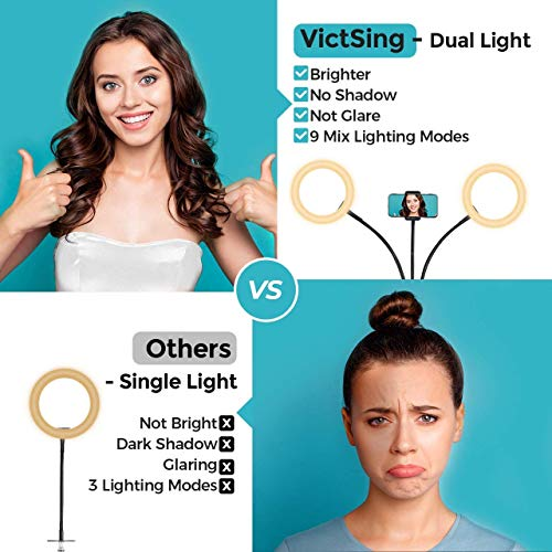 VicTsing 8 Inch Led Ring Light with Stand and Phone Holder, Dual Selfie Ring Light for TikTok/YouTube Video/Makeup, Compatible with iPhone & Android