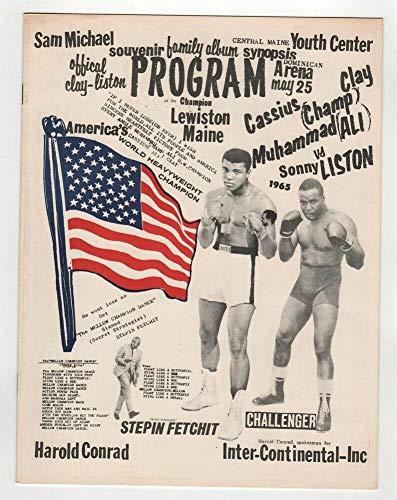 1965 Muhammad Ali Sonny Liston Program 5/25 Phantom Punch Lewiston ME Very Rare