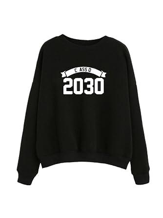 8afaf86277b3c Bonjouree Sweatshirt Court Femme Imprimé à Lettre Sweat-Shirt Ado Fille  Pull Chic (S