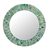 NOVICA Mosaic glass mirror, Aqua Fantasy