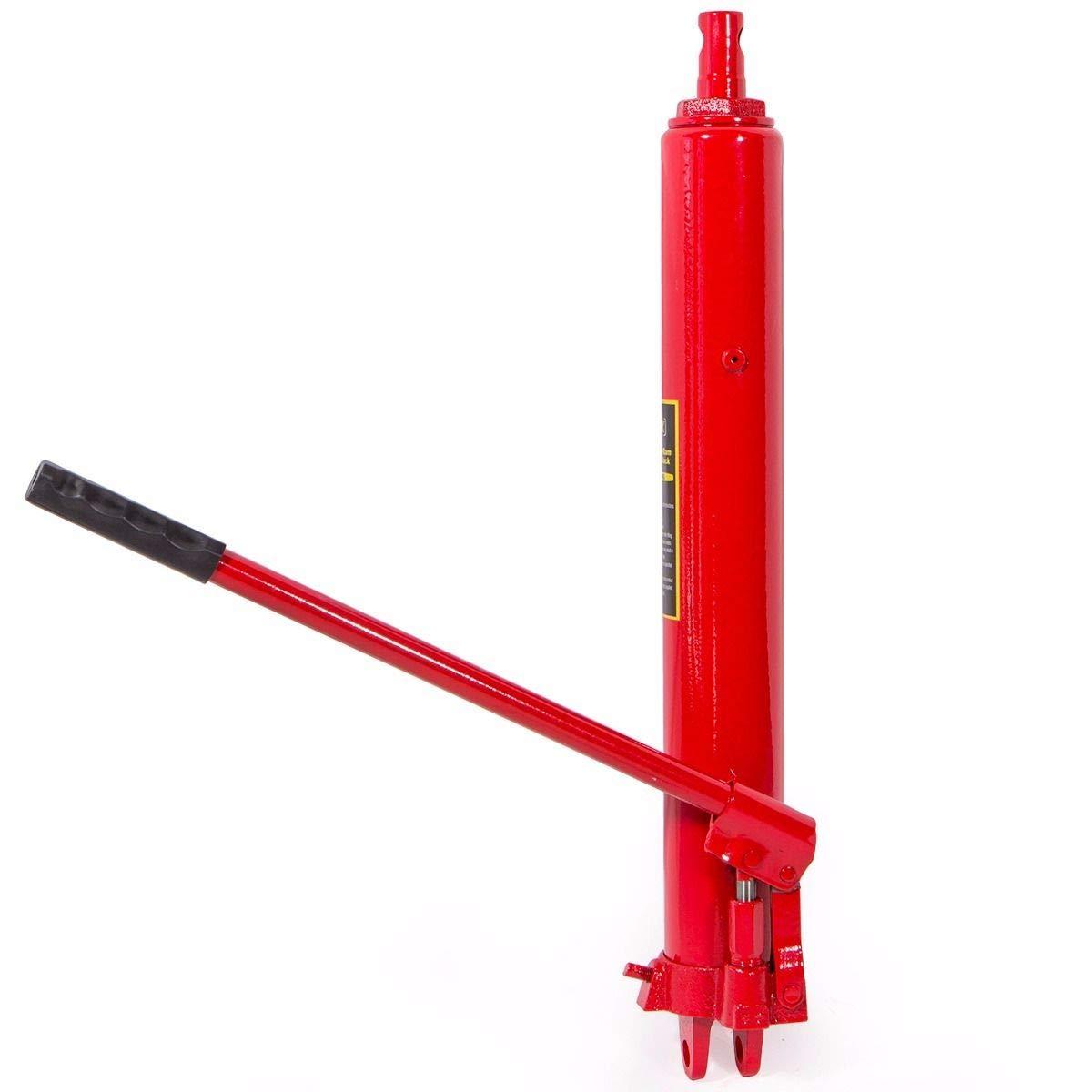 KCHEX>8 ton Long Manual Hydraulic Ram Jack Pump Engine Lift Hoist Cherry Picker>Heat-Treated Chrome ram for Strength and Durability.