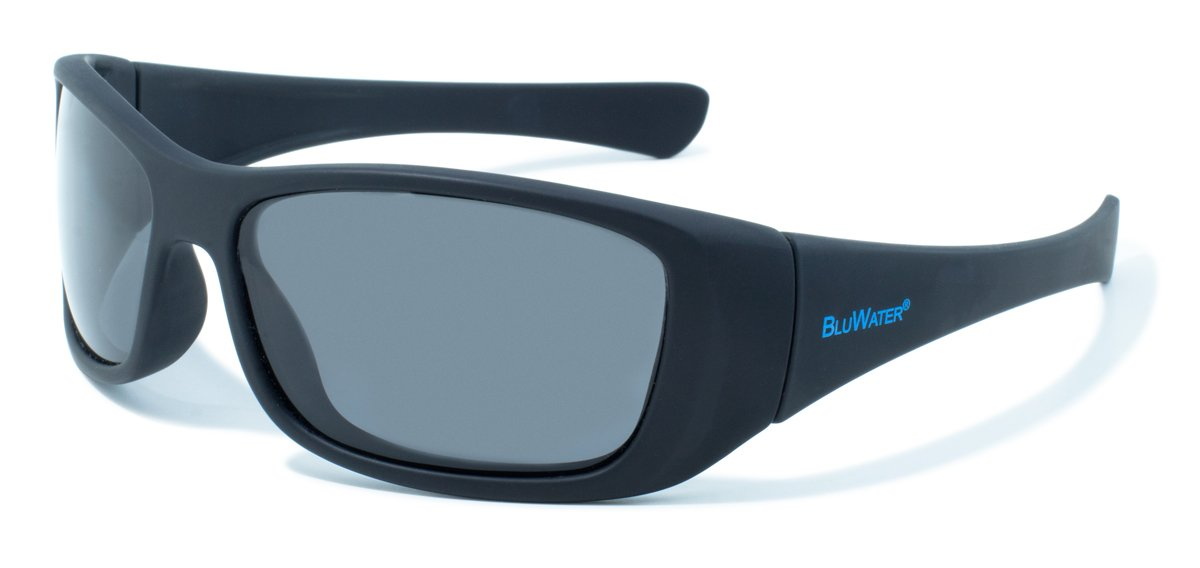 BluWater Polarized Paddle Series Sunglasses with Black Frames and Gray Lenses