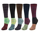 Santwo Color Block Warm Wool Blend Knited Lace Trim Hold-up Boot Crew Socks Winter Leg Warmer 5 Pairs, Multicoloured 2(5 Pairs), Large