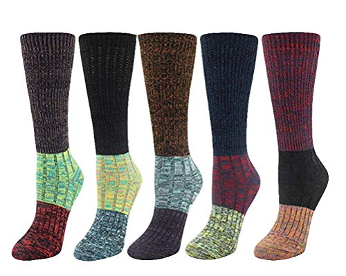 (Santwo Color Block Warm Wool Blend Knited Lace Trim Hold-up Boot Crew Socks Winter Leg Warmer 5 Pairs, Multicoloured 2(5 Pairs), Large)