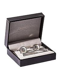 Mother of Pearl Men Tie Bar Clip Set Platinum Plated Cufflinks Tie Pin Fashion Alphabet Letter A-Z