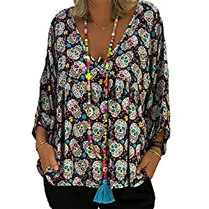 MNLYBABY Plus Size Women Skull Print V Neck Blouse 3/4 Sleeve Loose Casual Halloween Tops